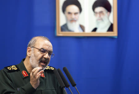 Hossein Salami, deputy head of Iran's Revolutionary Guard, speaks during Tehran's Friday prayers