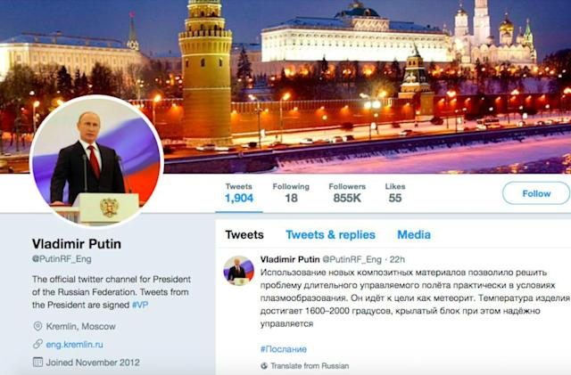 Twitter bans fake Putin account that the real Putin followed
