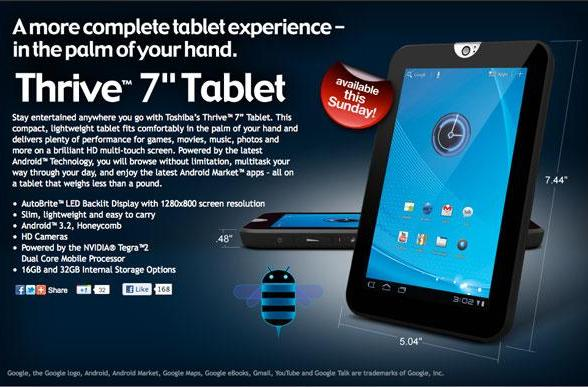 Toshiba Thrive 7-inch slate officially drops tomorrow, December 11th