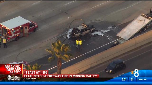 Fatal crash, fire in Mission Valley