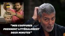 George Clooney se coupe les cheveux avec un Flowbee, étrange objet du téléachat