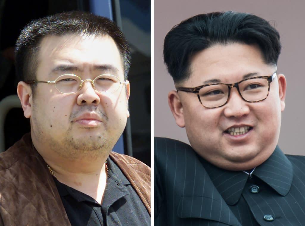 Kim Jong Nam, left, was the estranged half brother of North Korean leader Kim Jong Un (AFP Photo/Toshifumi KITAMURA, Ed JONES)