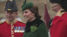 Heavily pregnant Kate and William mark St Patrick's Day