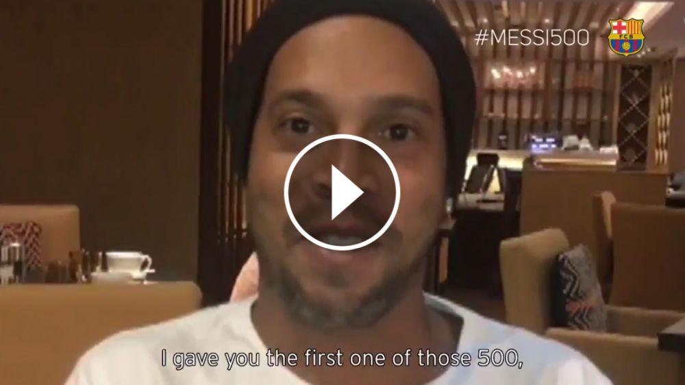 Ronaldinho e outros astros parabenizam Messi pelo gol 500