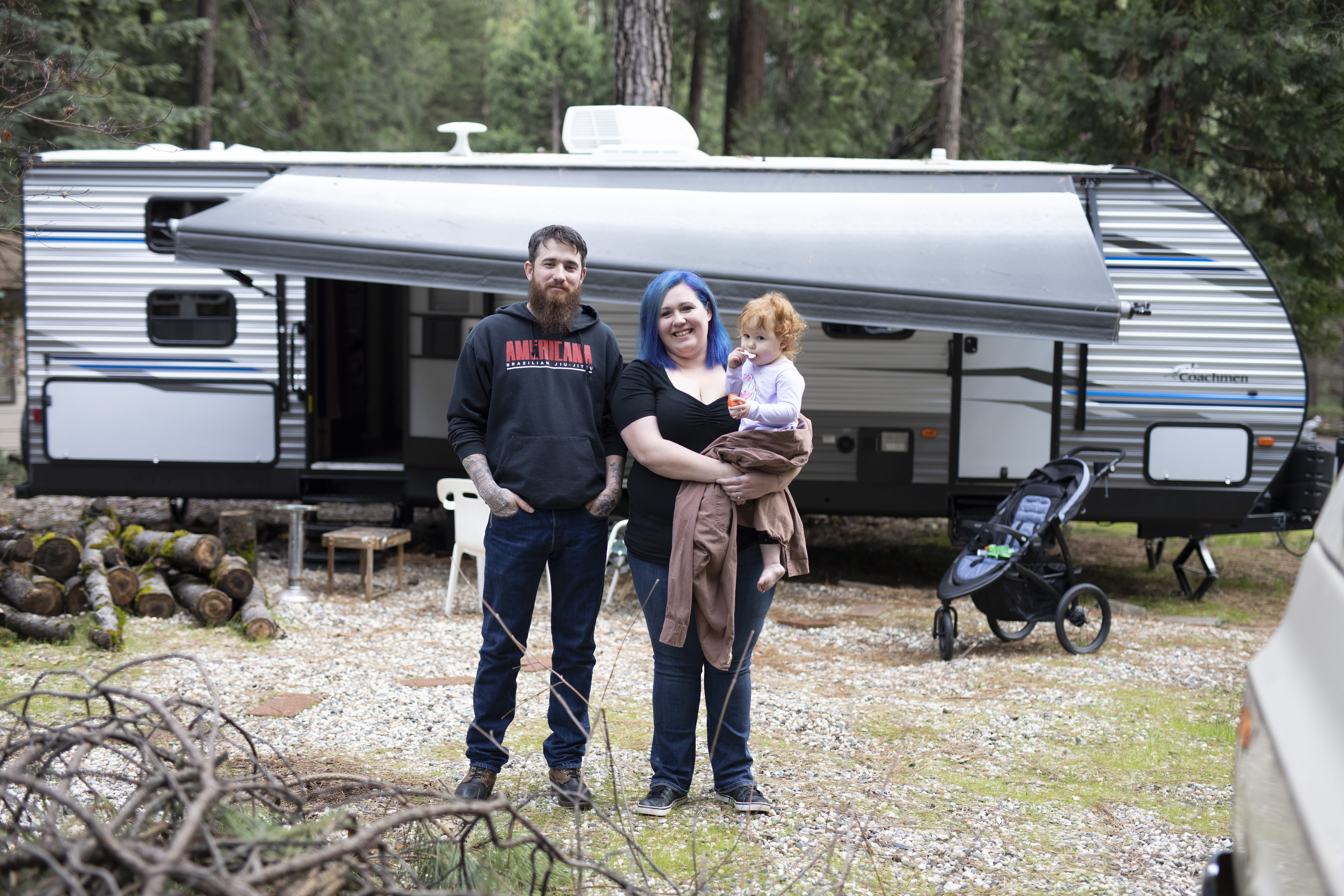 """This image released by National Geographic shows the Cox Family who are featured in the documentary """"Rebuilding Paradise."""" A new documentary by director Ron Howard captures a town's tough recovery following one of the most devastating wildfires in California's history.(Lincoln Else/National Geographic via AP)"""