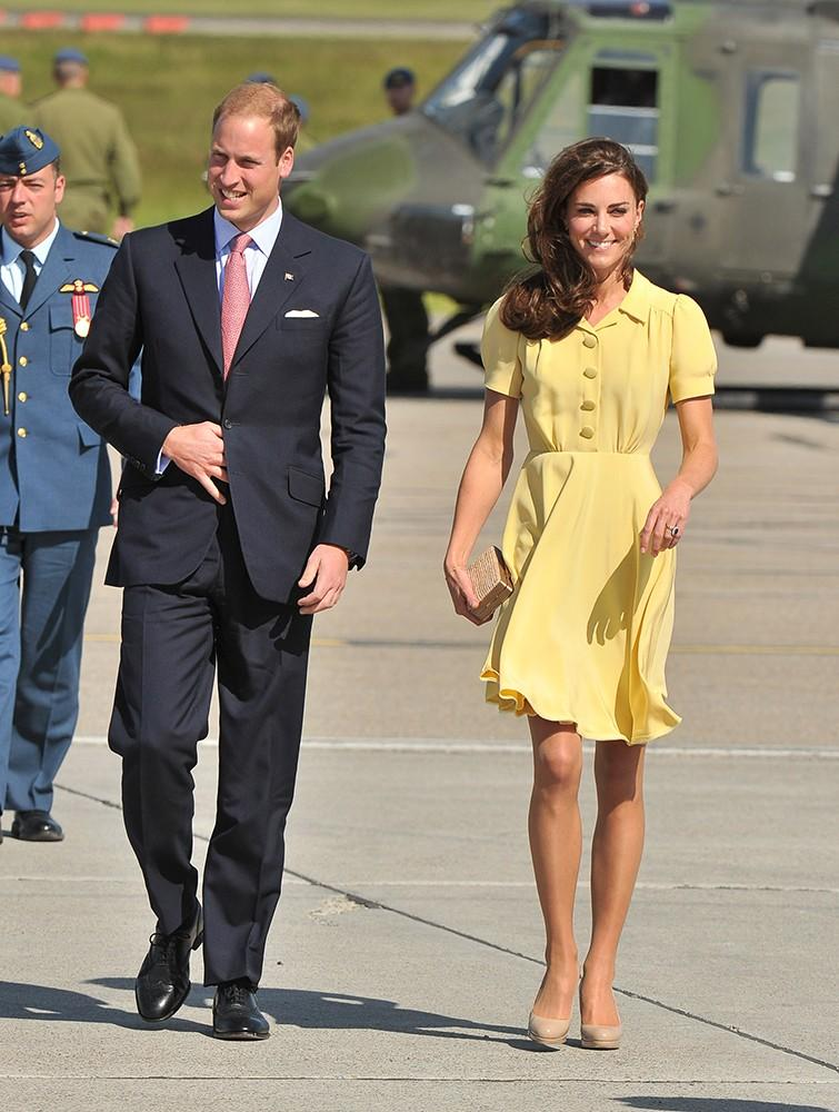 Kate looked lovely in this canary yellow Jenny Packham dress, but battled with the wind at Calgary International Airport.