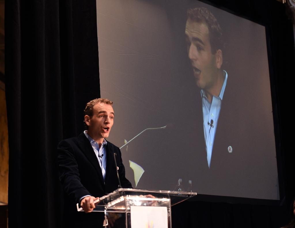 Alexandre Mars, founder and CEO of Epic Foundation, speaks at the 'Fast-Track cities: ending the AIDS epidemic' event in New York, on June 6, 2016