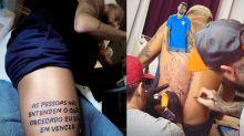 Neymar ostenta novas tatuagens: Goku e frase de Kobe Bryant