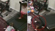 Child sucked under treadmill in nightmare footage