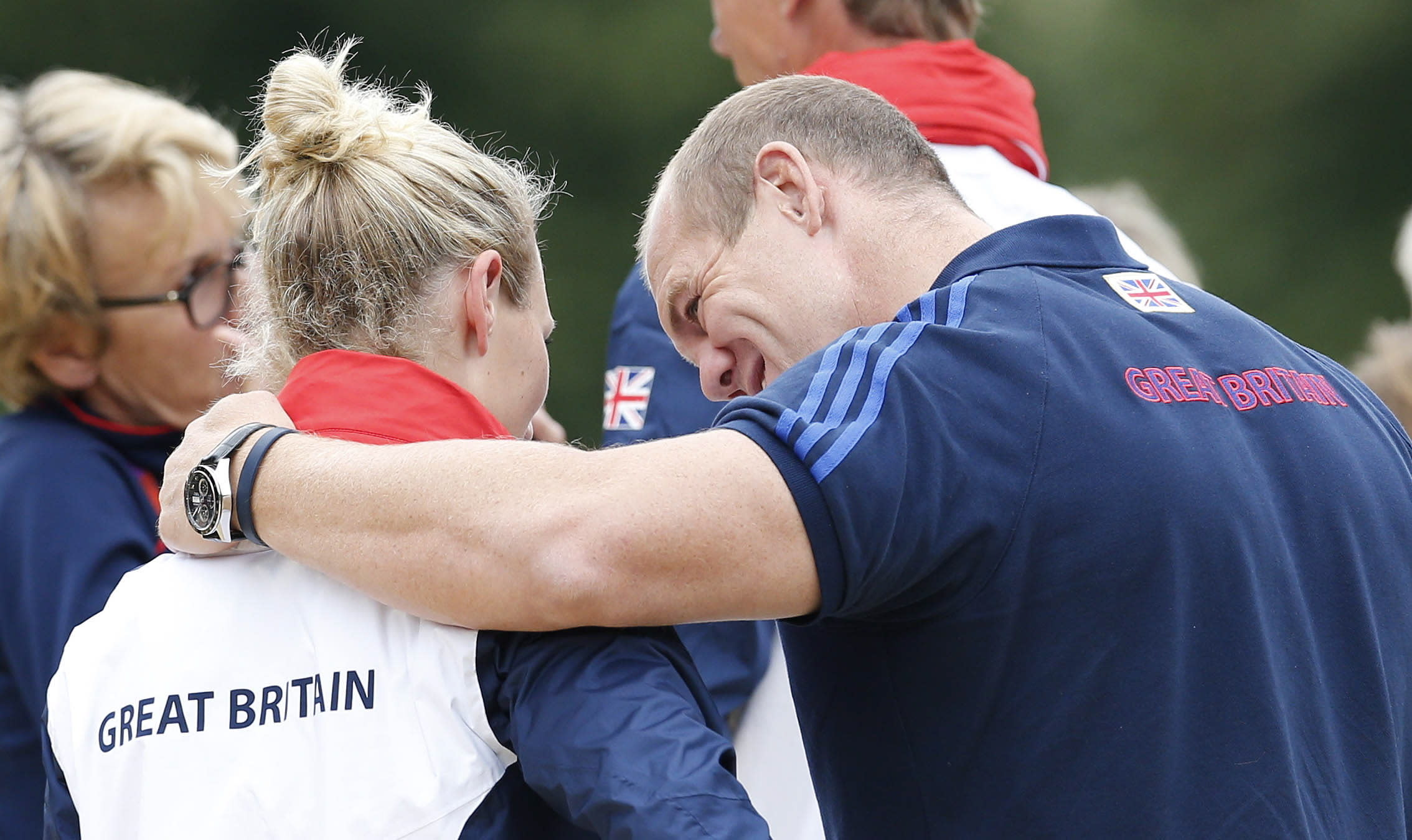 Olympics - London 2012 Olympic Games - Greenwich Park - 31/7/12  Equestrian - Eventing - Great Britain's Zara Phillips (L) with her husband England rugby player Mike Tindall after her jumping qualifier run  Mandatory Credit: Action Images / Andrew Boyers  Livepic  PLEASE NOTE: FOR EDITORIAL USE ONLY