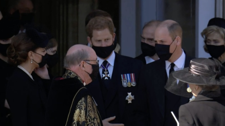 Harry, William leave Prince Philip's funeral side by side