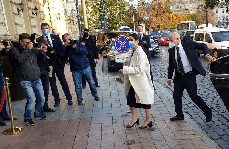 Belarus opposition leader Tsikhanouskaya meets with French President Macron in Vilnius