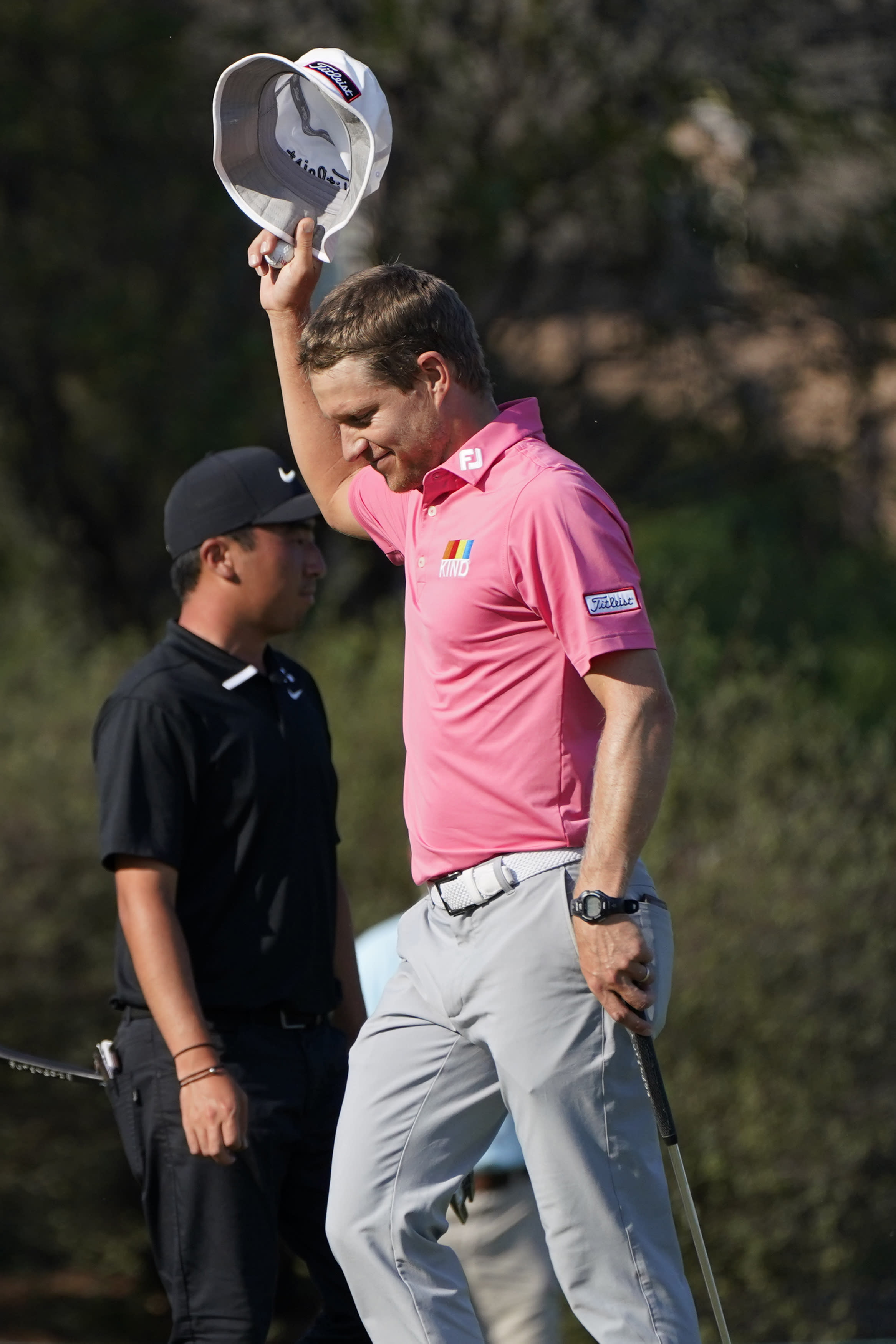 Peter Malnati waves his hat after finishing the fourth round of the Sanderson Farms Championship golf tournament in Jackson, Miss., Sunday, Oct. 4, 2020. (AP Photo/Rogelio V. Solis)
