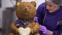 Cadbury World creates giant chocolate teddy to celebrate royal baby