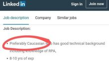 Tech Company Asked For 'Preferably Caucasian' Candidate On LinkedIn Job Posting