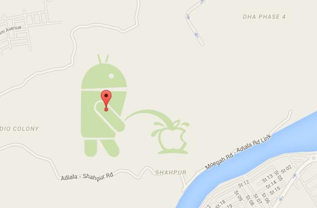 An Android is urinating on the Apple logo in Google Maps (update)
