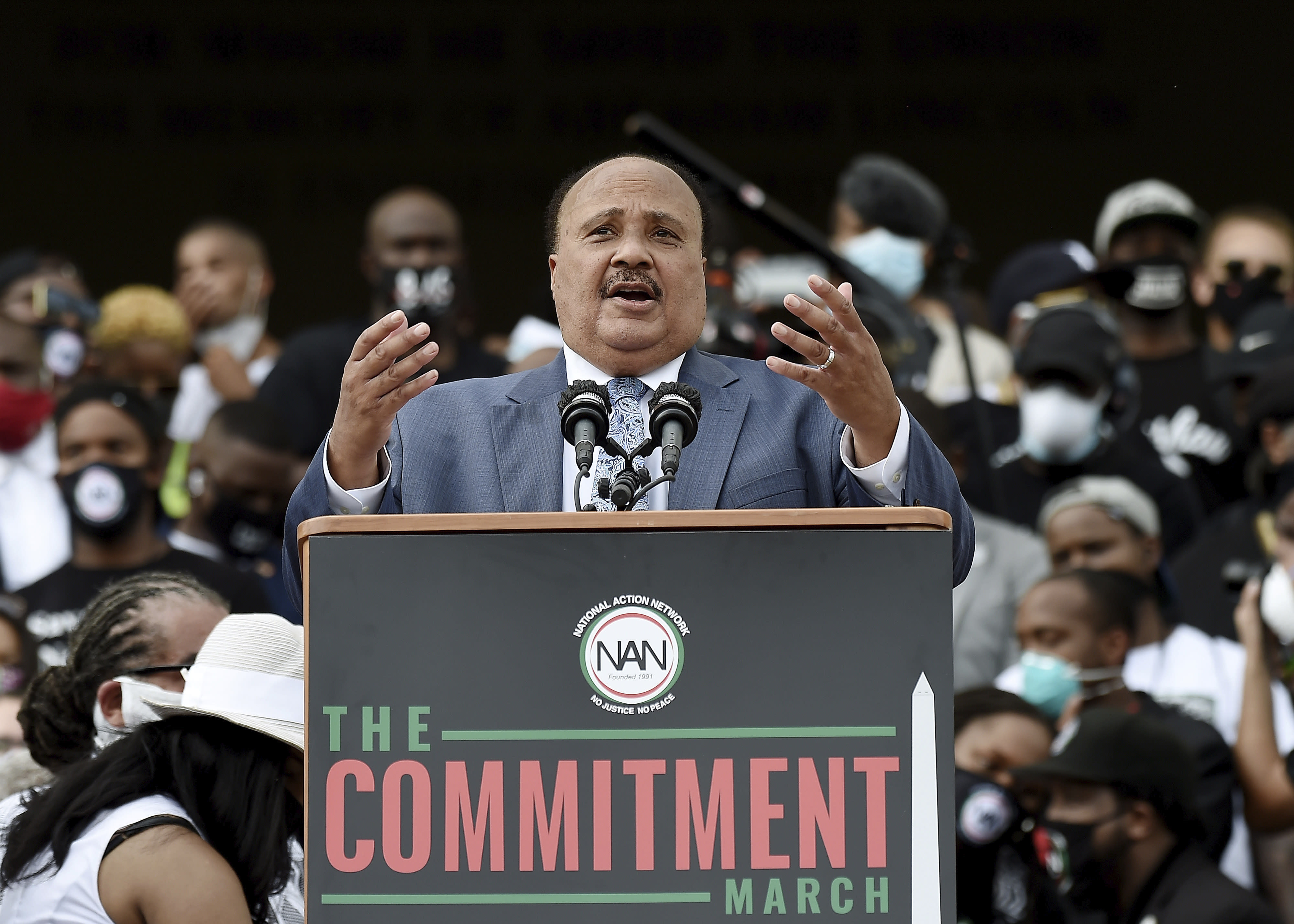 """Martin Luther King III speaks during the March on Washington, Friday Aug. 28, 2020, in Washington, on the 57th anniversary of the Rev. Martin Luther King Jr.'s """"I Have A Dream"""" speech. (Olivier Douliery/Pool via AP)"""