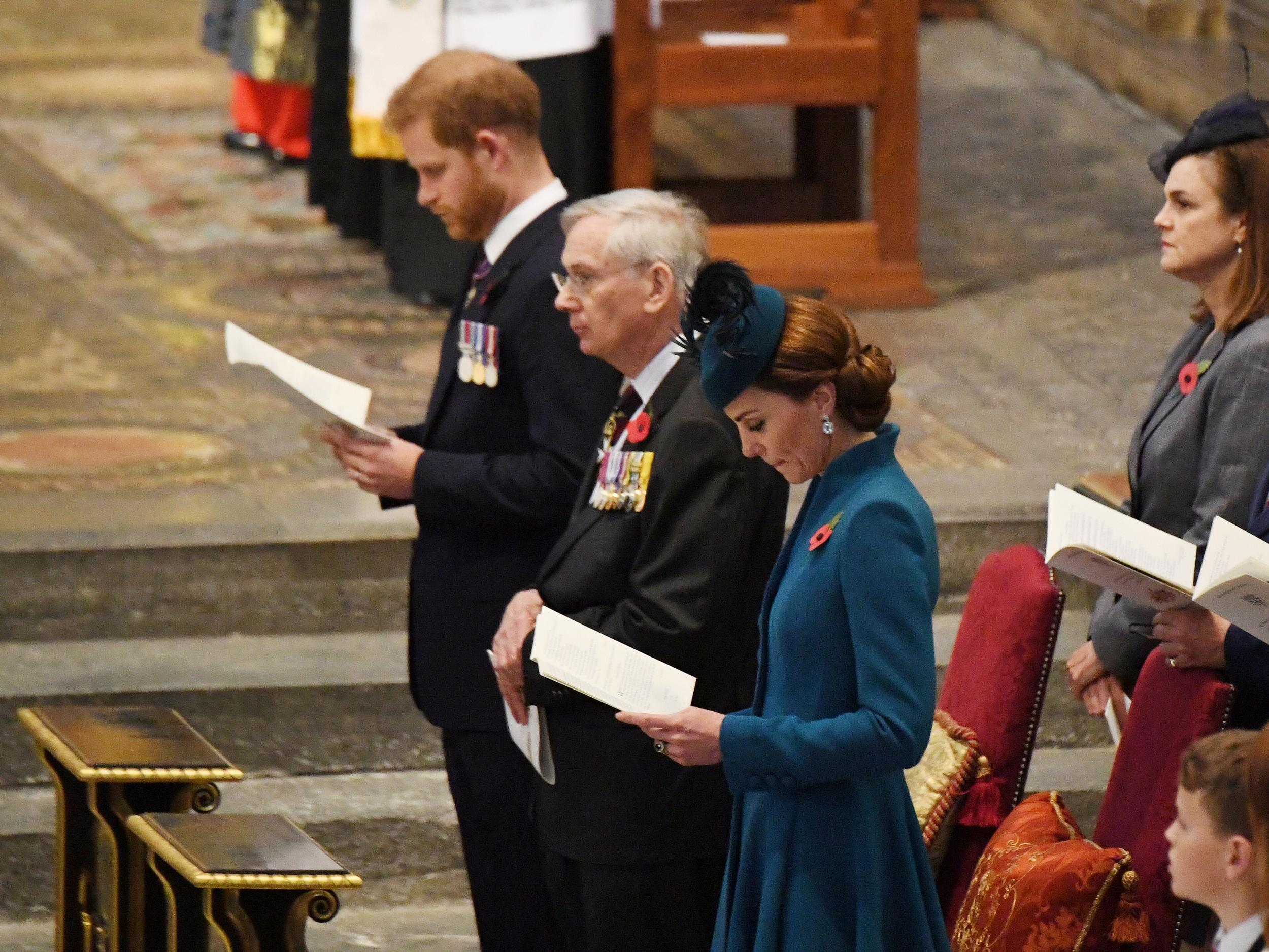 LONDON, ENGLAND - APRIL 25:  Prince Harry, Duke of Sussex, Prince Richard, Duke of Gloucester and Catherine, Duchess of Cambridge attend the ANZAC Day Service of Commemoration and Thanksgiving at Westminster Abbey on April 25, 2019 in London, United Kingdom.  (Photo by Jeremy Selwyn-WPA Pool/Getty Images)