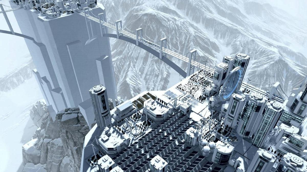 陡峭懸崖上的科幻城市(圖片來源:官方)
