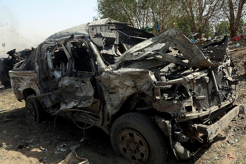 One of several vehicles reportedly destroyed in an October 24, 2018 air strike in Yemen's Huthi-held Hodeida province