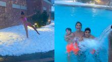 Juliana Paes encara neve de biquíni e curte piscina com os filhos nos EUA