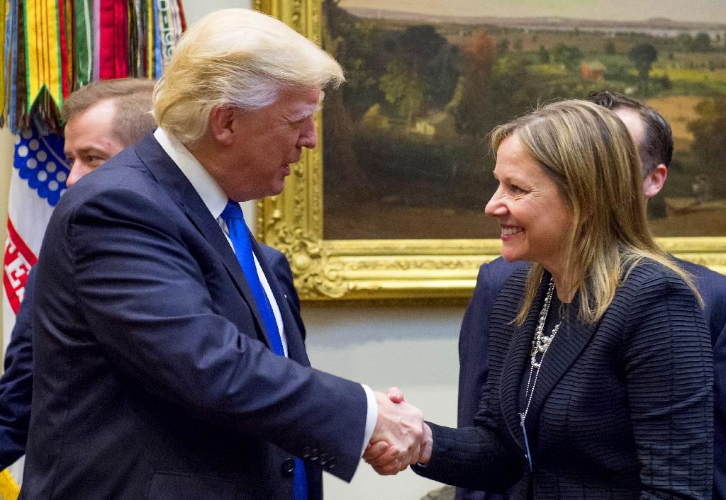 Donald Trump (L, pictured January 2017) said GM chief Mary Barra (R) had told him of plans to sell the Lordstown, Ohio plant to Workhorse, a company focusing on electric delivery vehicles (AFP Photo/SAUL LOEB)