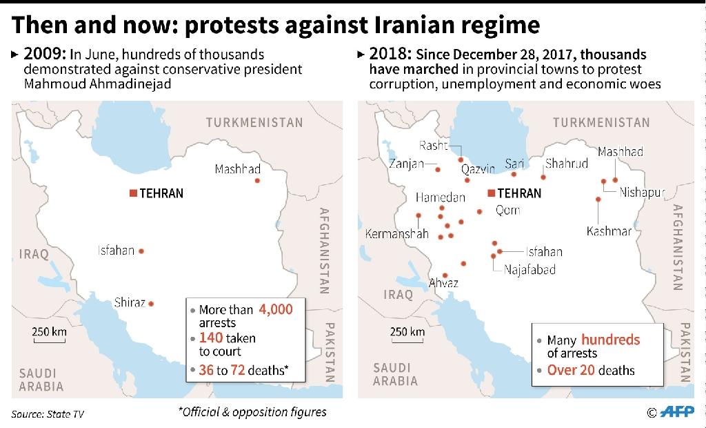 Maps comparing unrest in Iran in 2009 and now. (AFP Photo/Damien GAUDISSART)