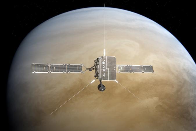 ESA-NASA Solar Orbiter probe Venus flyby (artist's rendering)