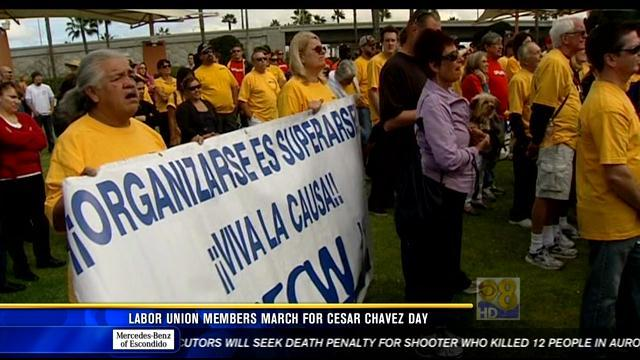 Labor union members march for Cesar Chavez Day