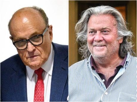 Steve Bannon appears to laugh off Giuliani's latest conspiracy theory blaming Lincoln Project member for Capitol riot