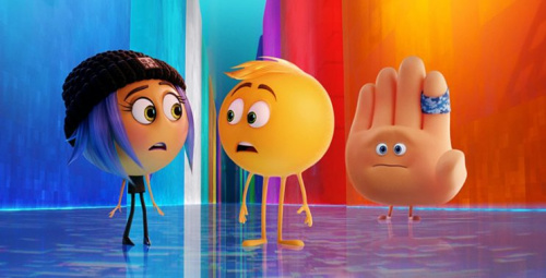 Anna Faris as Jailbreak, T.J. Miller as Gene, and James Corden as Hi-5 in 'The Emoji Movie'