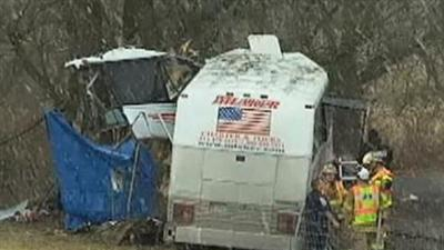 Raw: Pa. College Team's Bus Crashes, Killing 2