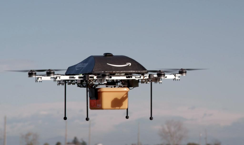 "An Amazon picture of a flying ""octocopter"" mini-drone that would be used to fly small packages to consumers"