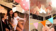 Sam Wood and Snez celebrate baby Willow's 1st birthday