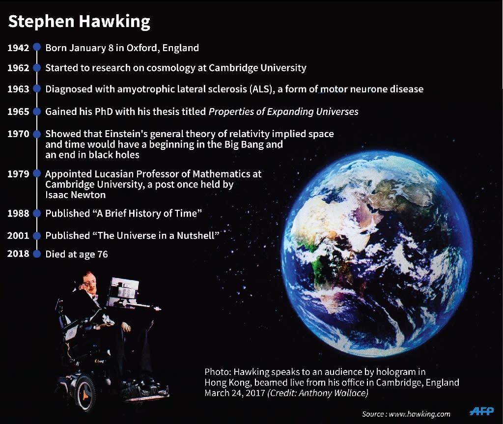 Profile of the British physicist Stephen Hawking. (AFP Photo/John SAEKI)