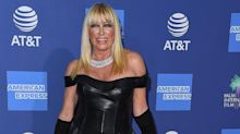 72-year-old Suzanne Somers turns heads in leather mini-dress