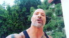 The Rock's grown an AMAZING grey beard for film role