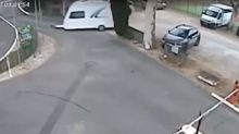 Out-of-control caravan slots into parking space perfectly