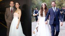 Atriz usa parte do vestido de noiva em festa do Globo de Ouro