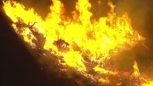 Wind-driven brush fire burns 30 acres of dry hillside near Cal State San Bernardino