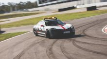 Porsche Taycan Turbo safety car bows at Le Mans
