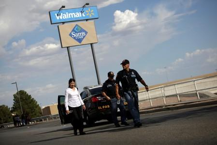 Police is seen after a mass shooting at a Walmart in El Paso