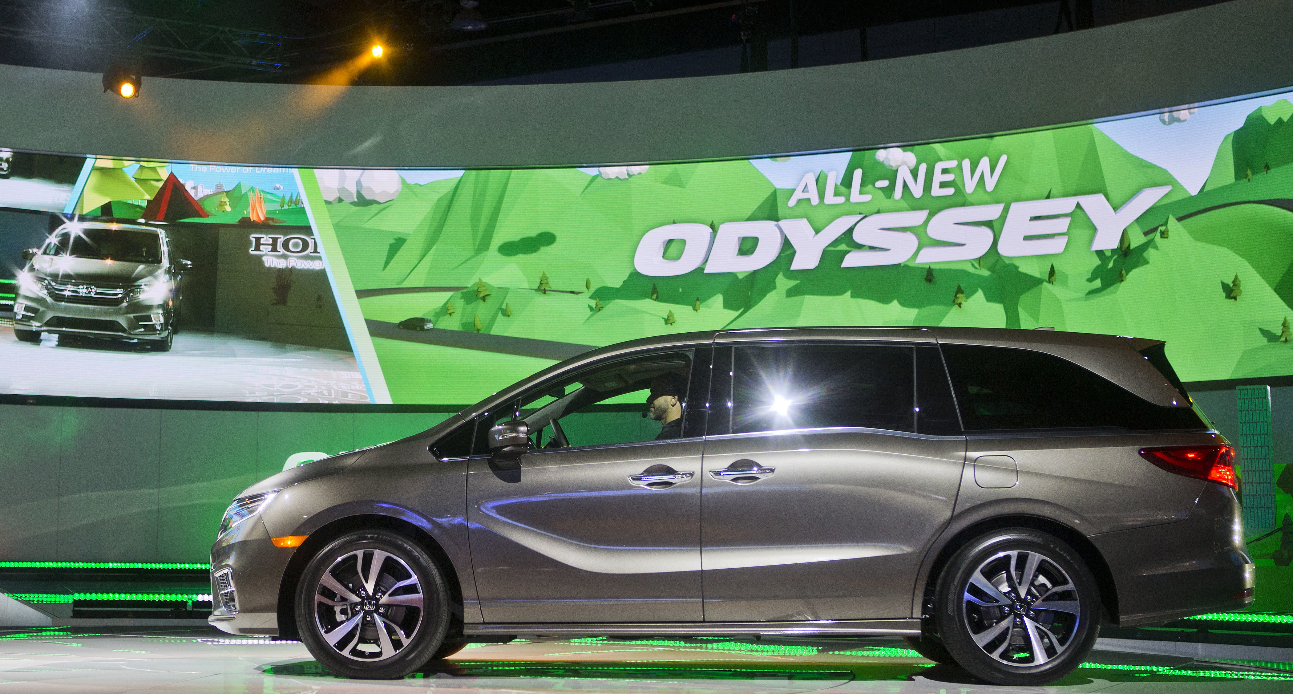 FILE - In this Jan. 9, 2017, file photo, a new Honda Odyssey minivan is unveiled at the North American International Auto Show, in Detroit. Honda recorded a 6.7% decline in July-September profit as vehicle and motorcycle sales slipped and an unfavorable exchange rate hurt earnings at the Japanese automaker, Honda Motor Co. reported Friday, Nov. 8, 2019. (AP Photo/Tony Ding, File)