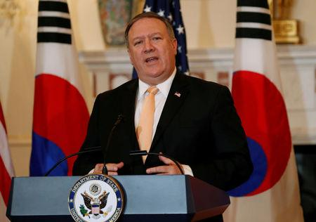 FILE PHOTO: U.S. Secretary of State Pompeo speaks at the State Department in Washington