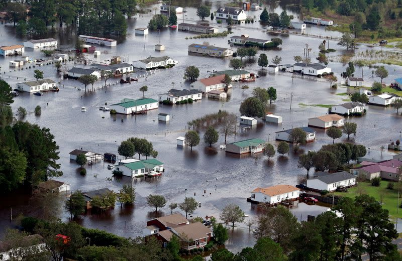 FILE PHOTO: Houses sit in floodwater caused by Hurricane Florence, in this aerial picture, in Lumberton