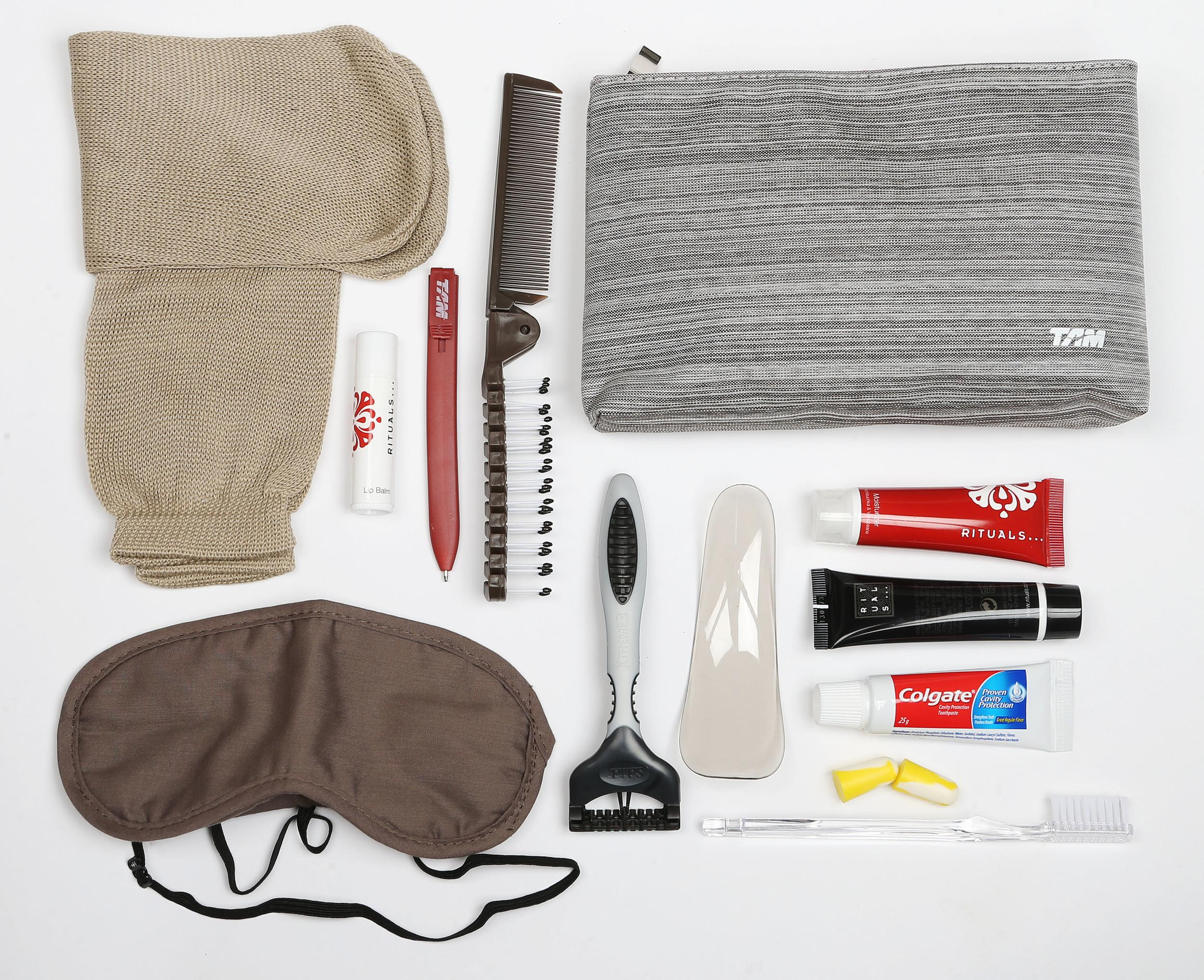<p><strong>What do you get?</strong> Socks, eye mask, toothpaste, toothbrush, pen, shoe horn, hairbrush, Schick razor, Sperian earplugs, Rituals shaving cream, moisturiser and lip balm<br /> <strong>Best bit of the kit?</strong> The granite-patterned bag. It's solid, minimalist quality.</p>