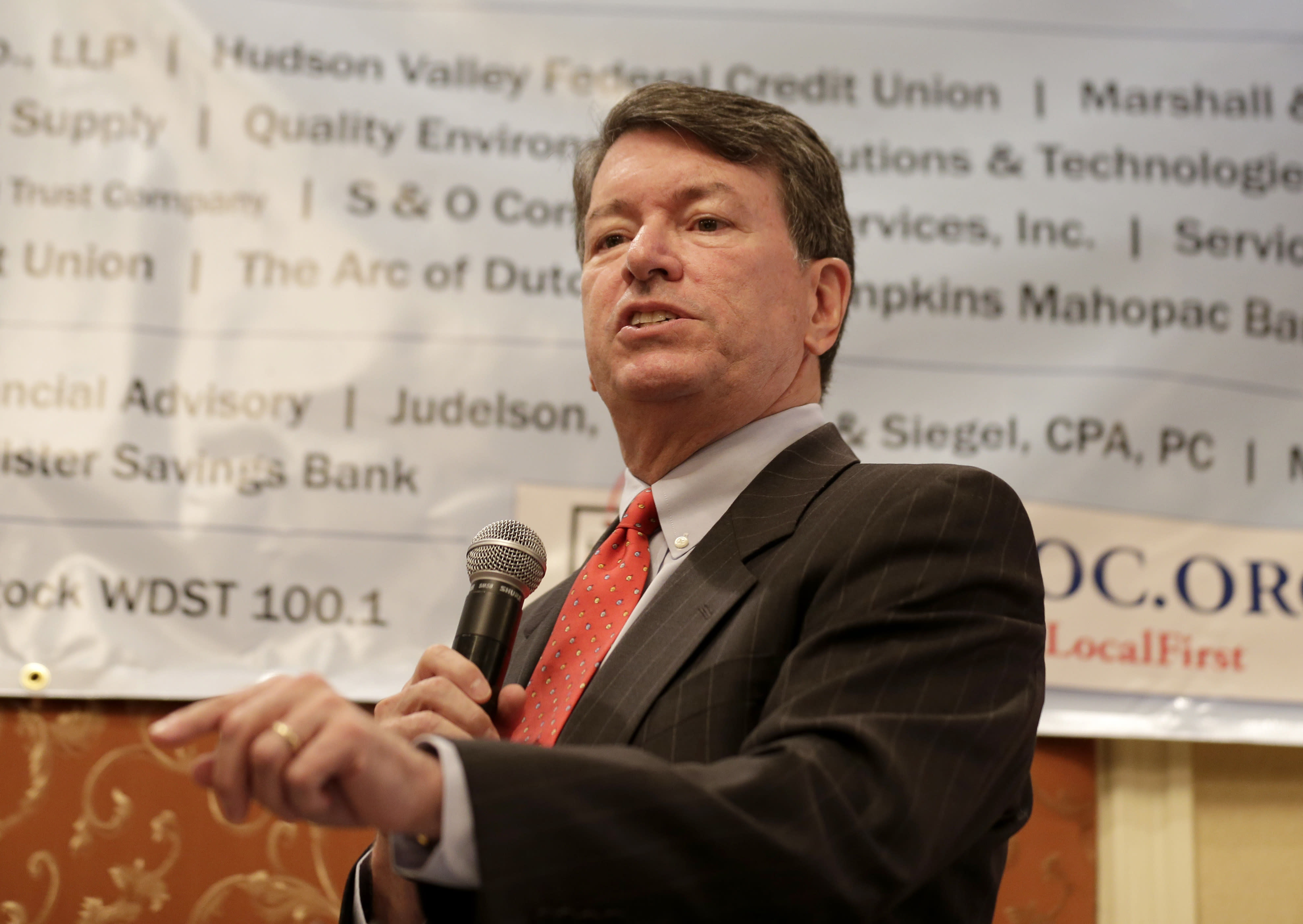 Republican U.S. Rep. John Faso speaks during a candidate forum in Poughkeepsie, N.Y., Wednesday, Oct. 17, 2018. Hip-hop, health care and Brett Kavanaugh have emerged as issues in a too-close-to-call congressional race in New York's Hudson Valley that pits the freshman Republican congressman against a rapper-turned-corporate lawyer seeking his first political office. (AP Photo/Seth Wenig)