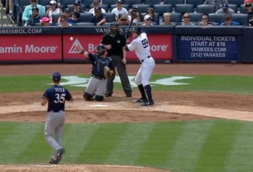 Aaron Judge stands his ground during a fascinating plate appearance against Brent Suter. (MLB.TV)