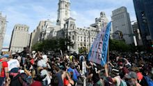 Aerial footage shows colossal crowds gathered in Philadelphia to protest against police brutality