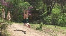 Woman is too big for kids' zipline